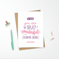 Personalised Hand Lettered Mother's Day Card Wonderful Human Being