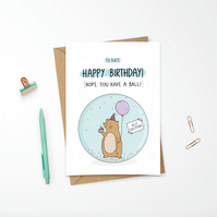 Funny Birthday Card Cute Illustrated Self Isolating Hamster Ball