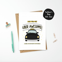 Uber Awesome Dad Taxi Father's Day or Birthday Card for Dad