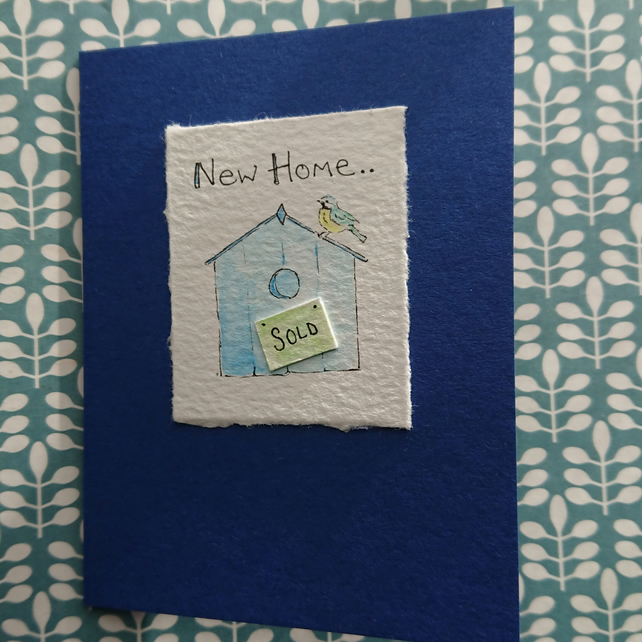 New Home Card - cute blue tit bird box - handmade with original artwork