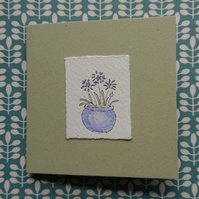 Greetings Card - Agapanthus - original hand painted design - recycled card