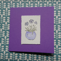 Greetings card - Purple agapanthus- Hand painted - Recycled - Blank inside