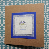 Greetings Card - Jug of grape hyacinths - hand painted - recycled