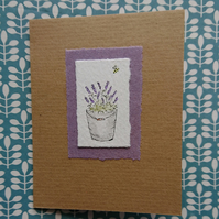 Greetings card - Lavender - Handmade - Recycled - Blank inside