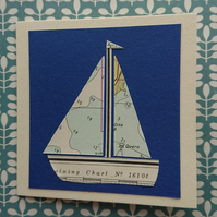 Handmade card - sea chart sailboat - recycled - blank inside for your message