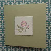 Handmade card - Dog Rose - recycled - blank inside for your message