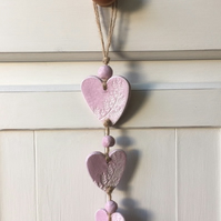 Decorative hanging hearts - Fern Design