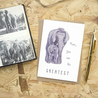 Mum You Are The Greatest Mother's Day Card Elephant Card for Mum Birthday Card