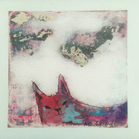 Cloudwatching cat, giclee print from original painting, cat art.