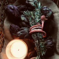 Smudge Stick, Rosemary, Lavender and Thyme. Spell, Housewarming rite, Wicca.