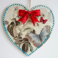 Decorated Wooden Hanging Heart, wall room decoration 20cm - Butterfly design
