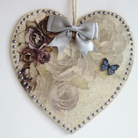 Decorated Wooden Hanging Heart, 20cm - wall room decoration Purple Grey floral