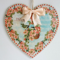 Decorated Wooden Hanging Heart, wall room decoration 20cm - Peach floral