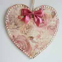 Decorated Wooden Hanging Heart, wall room decoration 20cm - Pastel Rose
