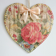 Decorated Wooden Hanging Heart, wall room decoration 20cm - Rose