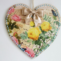 Decorated Wooden Hanging Heart, wall room decoration 20cm - Yellow Rose
