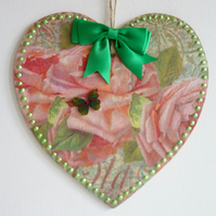 Decorated Wooden Hanging Heart, wall room decoration 20cm - Pink & Green Rose