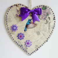 Decorated Wooden Hanging Heart, wall room decoration 20cm - Purple flower