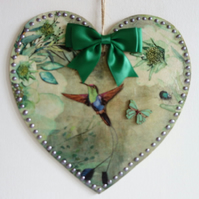 Decorated Wooden Hanging Heart, wall room decoration 20cm - Green