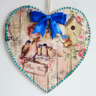Decorated Wooden Hanging Heart, wall room decoration 20cm - Birds