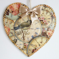 Decorated Wooden Hanging Heart, wall room decoration 20cm - Bird & Clock face
