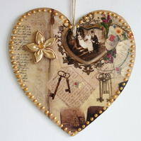 Decorated Wooden Hanging Heart, wall room decoration 20cm - Vintage photo