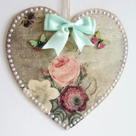 Decorated Wooden Hanging Heart, Wall room decoration 20cm - Pink Rose