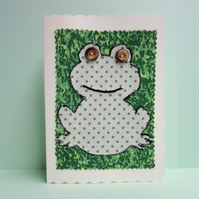 Frog, Fabric Appliqué Cream Blank Greetings Card
