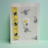 Yellow Daisy and Bee Ribbon, Fabric Appliqué Cream Blank Greetings Card