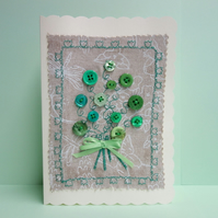 Green Button Bouquet, Fabric Appliqué Cream Blank Greetings Card