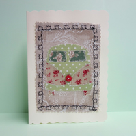 Green Dotty Camper Van, Fabric Appliqué Cream Blank Greetings Card