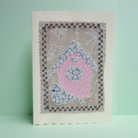 Pink Birdhouse, Fabric Appliqué Cream Blank Greetings Card,