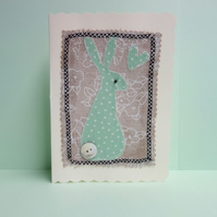 Green Hare, Fabric Appliqué Cream Blank Greetings Card