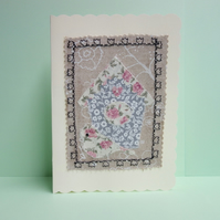 Grey Birdhouse, Fabric Appliqué Cream Blank Greetings Card