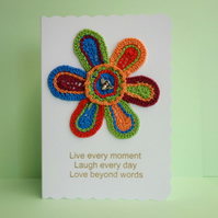 Crochet Flower Appliqué White Blank Greetings Card, Live Laugh Love