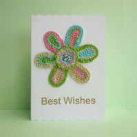 Crochet Flower Appliqué White Blank Greetings Card, Best Wishes