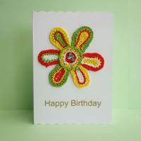 Crochet Flower Appliqué White Blank Greetings Card, Happy Birthday
