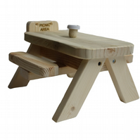 Squirrel and Bird Wooden Picnic Bench
