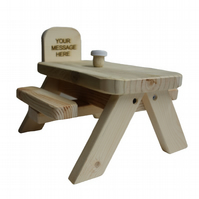 Personalised Squirrel and Bird Wooden Picnic Bench