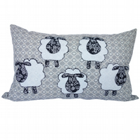 Oblong Cushion, Sheep Appliqué Throw Pillow with inner pad