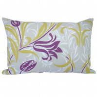 Oblong Cushion, Purple & Tan Floral Throw Pillow with inner pad