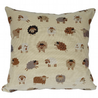 Square Cushion, Tapestry Sheep Throw Pillow with inner pad