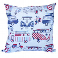 Red & Blue Camper Van Scatter Cushion, Throw Pillow with inner pad
