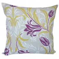 Square Cushion, Purple & Tan Floral Throw Pillow with inner pad