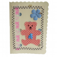Pink Teddy, Fabric & Ribbon Appliqué Cream Blank Greetings Card