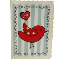 Red Bird, Fabric Appliqué Cream Blank Greetings Card