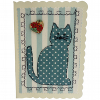 Blue Cat, Fabric Appliqué Cream Blank Greetings Card