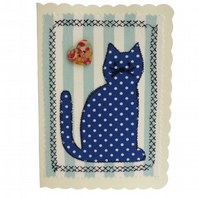 Blue Dot Cat, Fabric Appliqué Cream Blank Greetings Card