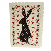 Brown Hare, Fabric Appliqué Cream Blank Greetings Card