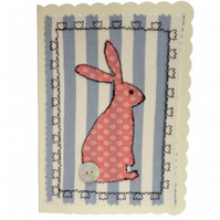 Pink Hare, Fabric Appliqué Cream Blank Greetings Card